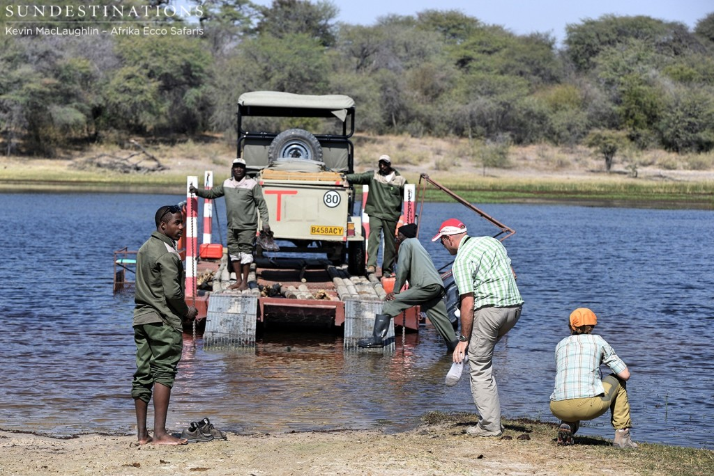 The locally-run pontoon leading to the gate of the Makgadikgadi National Park