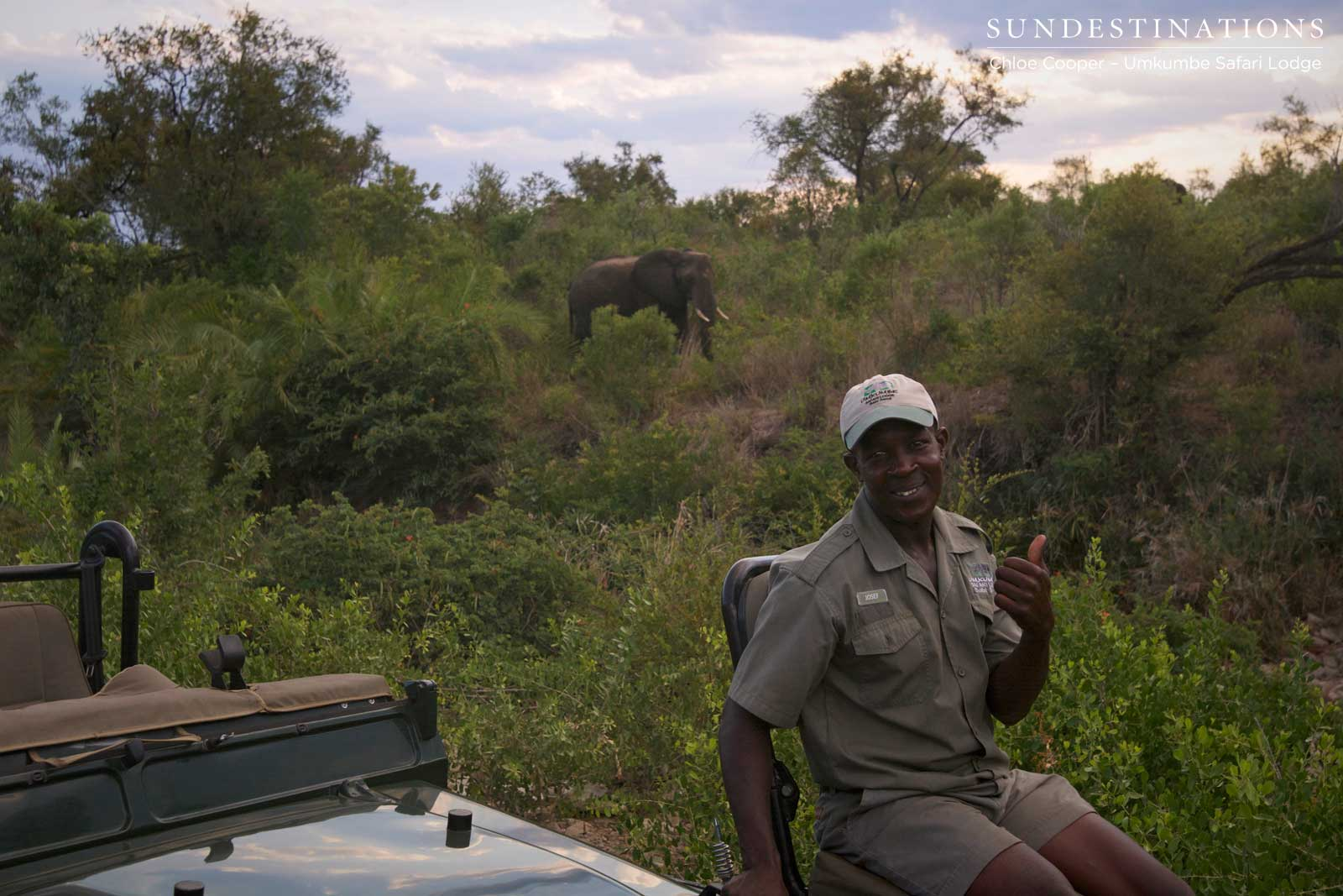 Tracker Josef showing his appreciation for the wonderful elephant sighting with Umkumbe