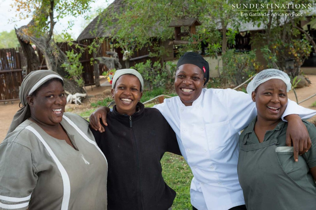 Some of the Africa on Foot housekeeping ladies with chef, Yvonne