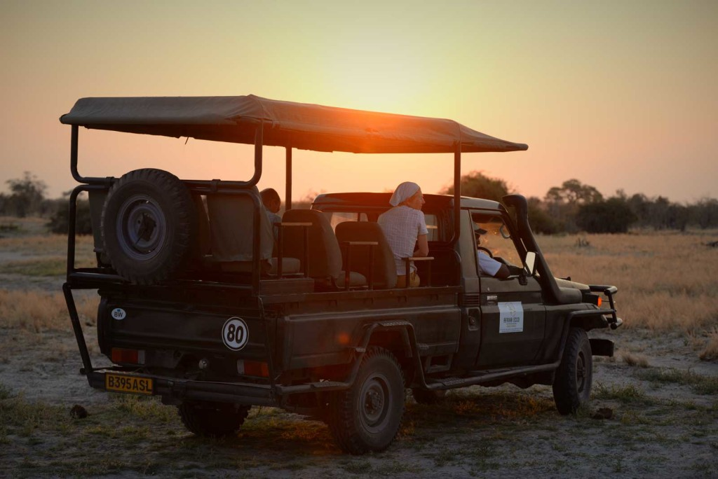 Afrika Ecco Safaris in the sunset in Savuti