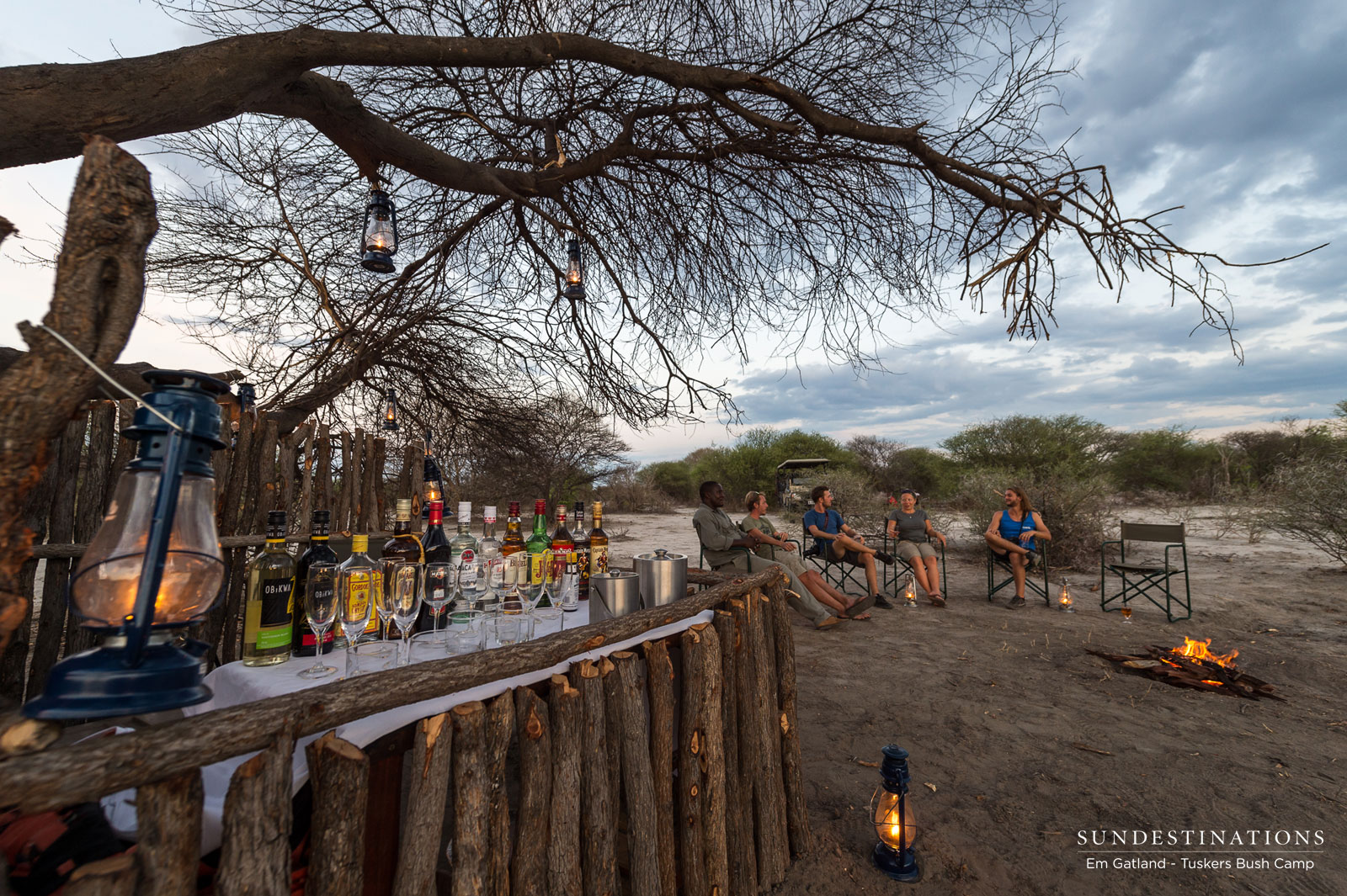 "A Tipple at the ""Bush Bar"" in the midst of no-man's land…"